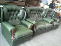 Green leather Chesterfield style 3 piece suite
