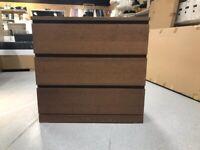 MALM Chest of 3 drawers, brown stained ash veneer80x78 cm IKEA CROYDON #bargaincorner