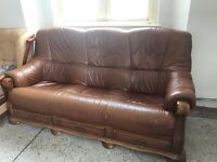 Price reduce! only £20 !! must go before 21st! Brown Leather 3 Seater Sofa,