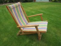 Genuine 1930s Wooden Framed Deckchair with Arms