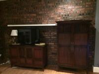 John Lewis Solid Walnut TV Unit and Bookcase/Closed Door Cabinet