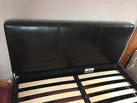 Faux leather king size bed with draw