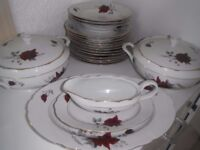 camielow poland red rose pattern unused part dinner service