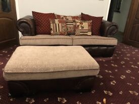 2 x 3 seater settee with footstool and a swivel armchair, brown, red and cream