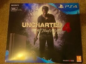 Unopened PS4 with Uncharted 4: A Thief's End