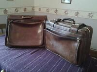 Two Vintage leather suitcases