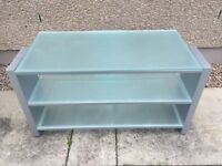 Three Tiered Frosted Glass Table/TV Stand Entertaiment Stand