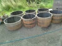 Half barrel planters oak