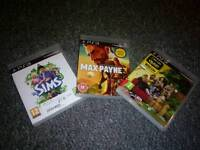 Sims 3, Max payne 3, Nat Geo Quiz for PS3