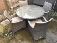 Garden Table and 4 Chairs Rattan Style