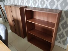 Walnut veneer bookshelf and side cabinets