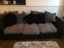 Grey and black material corner sofa