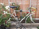 Vintage white steel bike frame