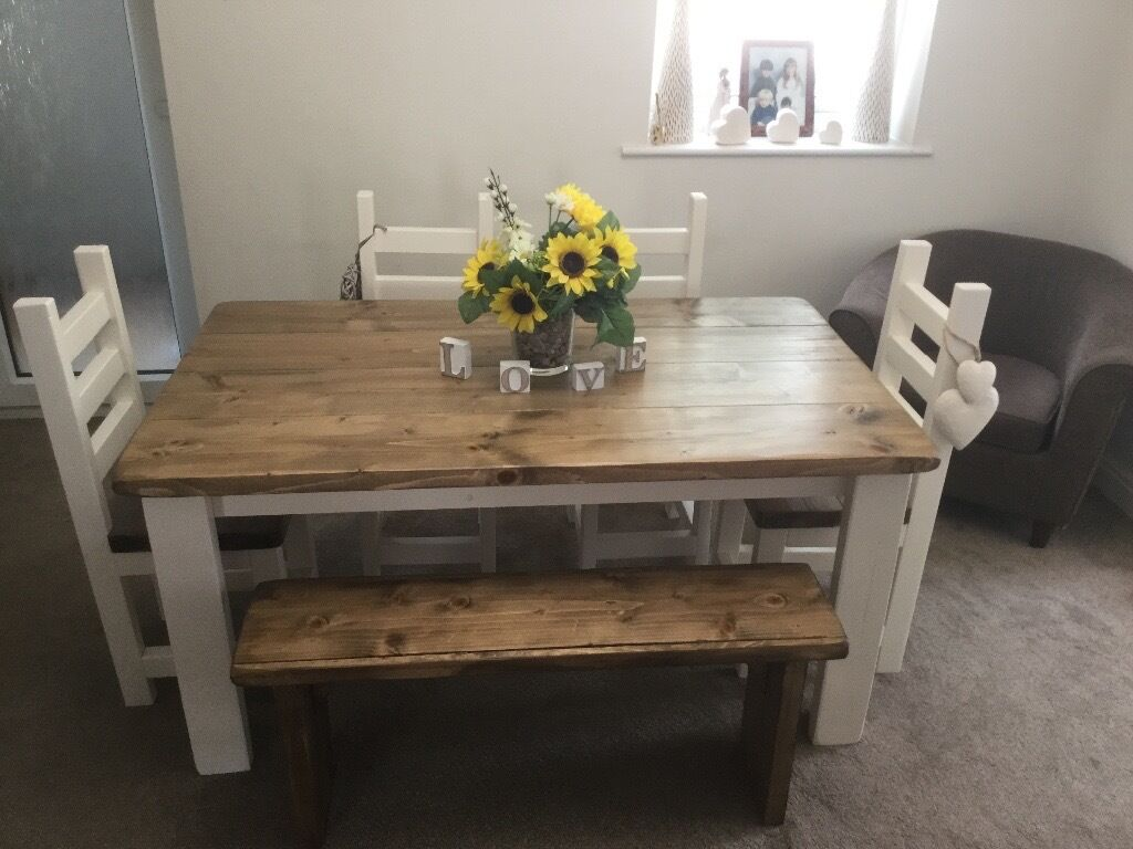 table 4 chairs and bench. shabby chic, rustic, chunky dining table, 4 chairs and bench set table