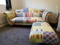 Dfs patchwork sofa, footstool
