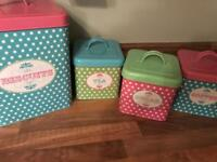 Kitchen storage canisters tins