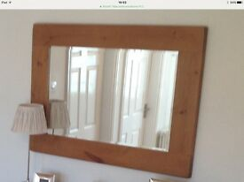 "Pine mirror. Very large 47"" x 34"". Excellent quality."