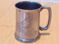 Lovely Stangheng Swatow Tankard, Pewter, glass base, engraved with a dragon, £20 ono