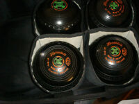 3 sets of lawn bowls including bags measure and shoes