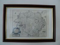 Framed Ulster Province Map. Reproduction print.