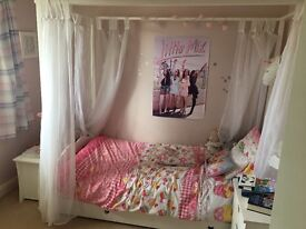 Girls four poster bed and furniture set