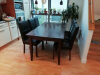 Large, solid wood dining table & x6 chairs