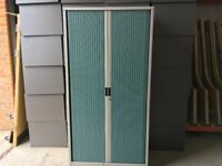 Tall Roneo metal tambour unit with green doors