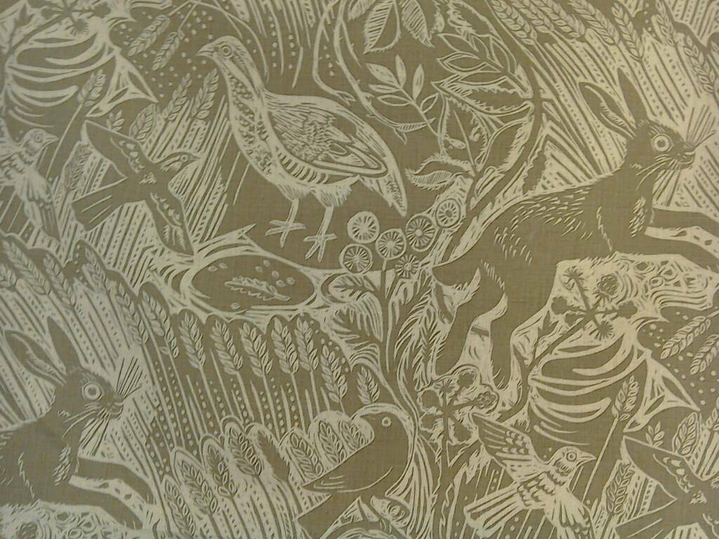 Mark Hearld Harvest Hare upholstery fabric 1m length, immaculate, as new