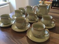 Denby Daybreak coffee set . Six cups and saucers, coffee pot, milk jug and sugar bowl