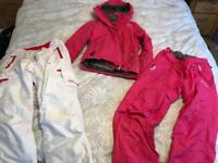 Ladies ski jacket and x2 trousers pink/white