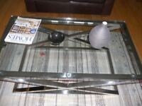 Designer stainless steel glass coffee table