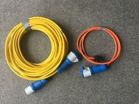 Electric hook up heavy duty cable with home connection cable for use with caravan or motorhome