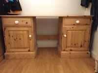 Solid pine desk/ dressing table. Width 152cm depth 52 cm. £40 or nearest offer.