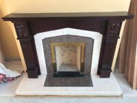 Fireplace - Mahogany surround with Cream Marble inset and hearth