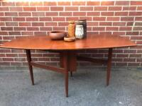 Vintage TEAK Dining Table Drop Leaf Seats 4-6 Mid Century Retro 60s 70s