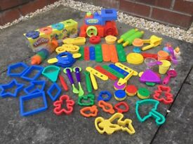 PLAY DOH & LOTS OF ACCESSORIES BUNDLE, TRAIN, ROLLERS, CUTTERS, SHAPES, MOULDS