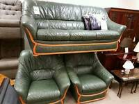 Wood trimmed green leather suite