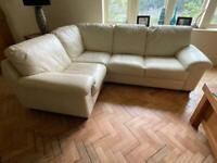 Cream leather corner sofa ( 2 of 2)