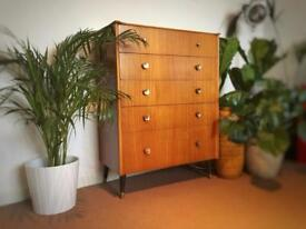 Vintage/retro Danish style tallboy chest of drawers