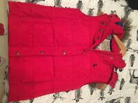 Red Jack Wills Gilet with fur trimmed hood (size 10)