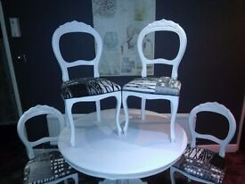 Stunning fully refurbished dining table and 4 balloon back chairs UK delivery available