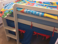 White Wooden Mid Sleeper Cabin Bed & Den / Tent - Bought for approx. £130 incl. tent. for sale  Grange Park, Wiltshire