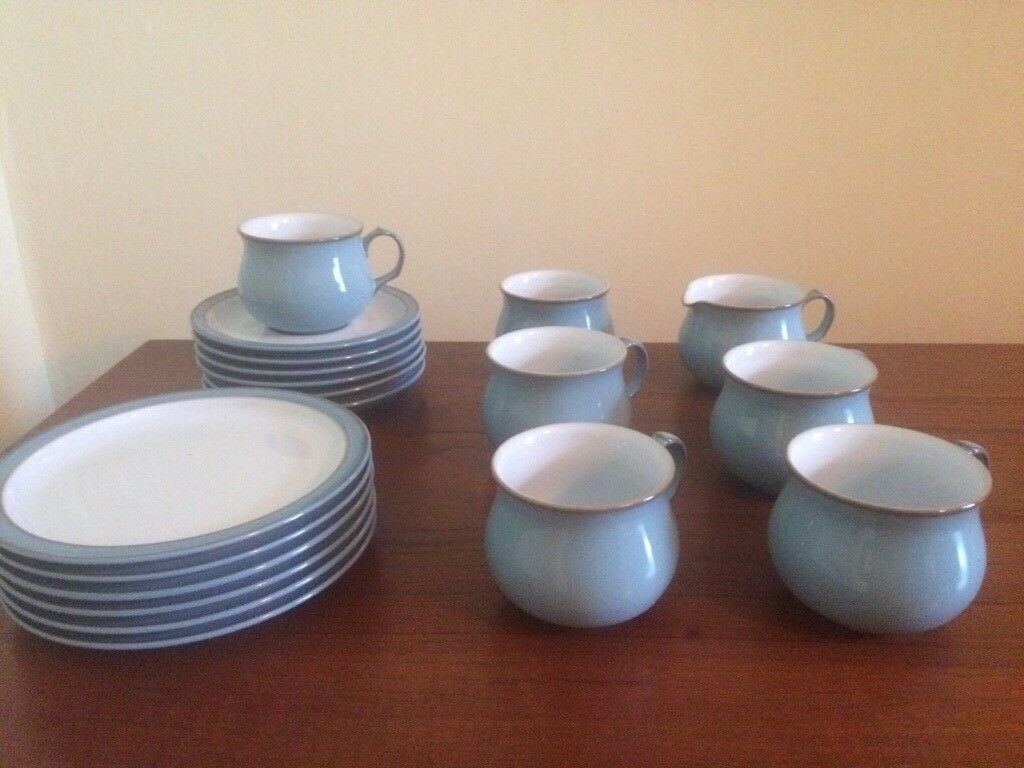 Denby Colonial Blue, cups, saucers, side plates, milk jug and sugar ...