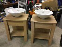 Oak effect sink unit