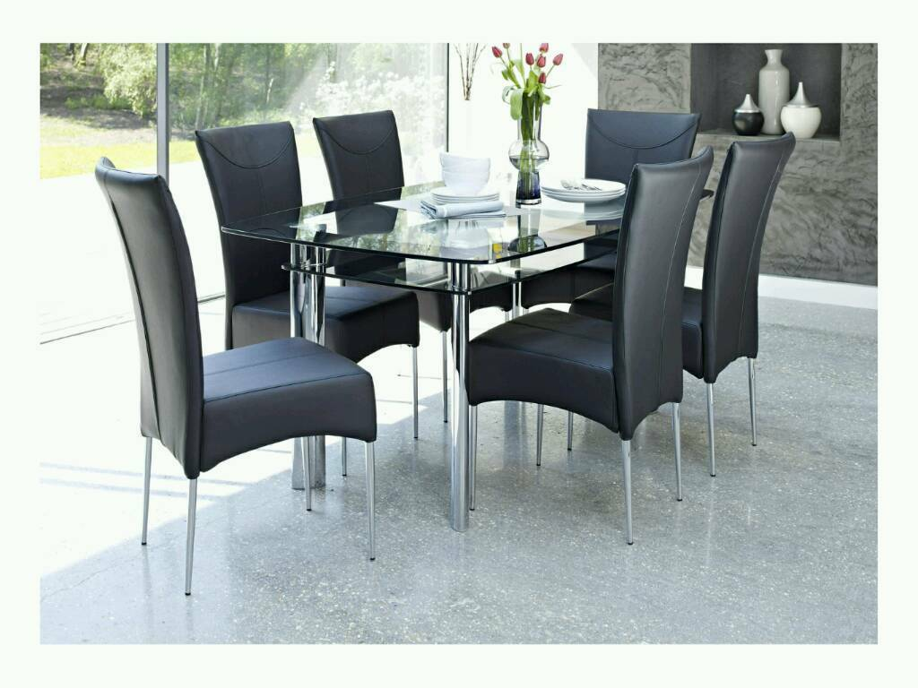 Black Glass Side Table Gumtree: Harveys Black Glass And Chrome Dining Table And 6 Chairs