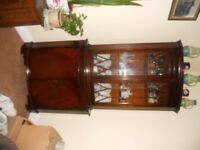 Beautiful wooden corner display cabinet