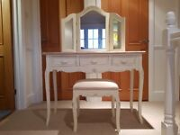 Shabby chic dressing table with mirror and chair