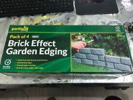 15 x Grey 4 Pack Brick Effect Lawn Plant Garden Plastic Edging Border Hammer-In