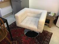 White leather square armchair