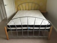 Metal & Light Wood Bed Frame with matching Bedside Table
